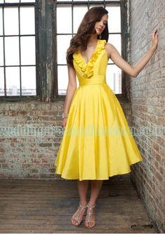 Taffeta Sexy V Neck with Short Slim A Line Skirt Hot Sell Yellow 2011 Bridesmaid Dress CA-73
