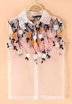 Pink Flowers Embroidery V-neck Sleeveless Wrap Polyester Blouse