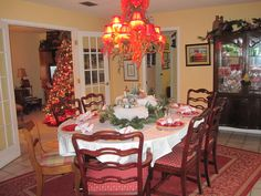 My Christmas table last year..miniature village as centerpiece...  photo by joan