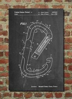 Climbing Carabiner Hook Patent Art Print Patent by PatentPrints