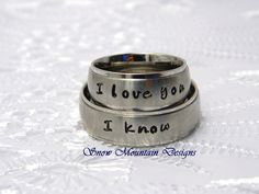Couples Hand Stamaped Name Ring by SnowMountainDesigns on Etsy, $50.00 - perfect for couples promise rings!