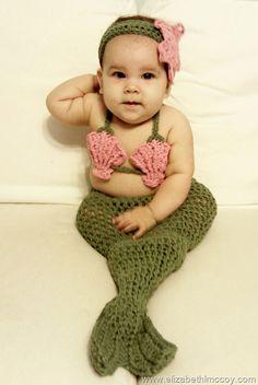 crocheted mermaid costume...omg cute!