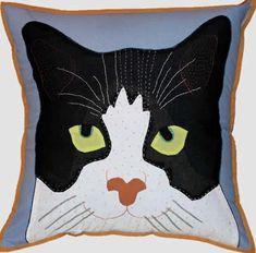 Cat Throw Pillows, Cat on Blue Pillow - Topanien Global Gifts