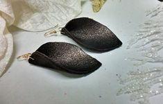 Leaf Earrings, Teardrop Earrings, Leather Earrings, Leather Jewelry, Earrings Handmade, Handmade Jewelry, Unique Jewelry, Crochet Shoulder Bags, Leather Leaf