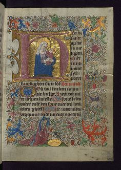 Illuminated Manuscript, Van Alphen Hours, initial H with the Apocalyptic Virgin and Child, Walters Manuscript fol. Medieval Books, Medieval Manuscript, Medieval Life, Medieval Art, Renaissance Art, Illuminated Letters, Illuminated Manuscript, Principles Of Art, Book Of Hours