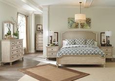 Demarlos Queen Bedroom Set with Upholstered Panel Bed Dresser and Mirror in Parchment White Finish