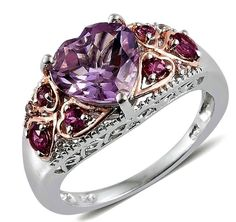 Rose De France Amethyst Garnet White Zircon Sterling Silver Ring Size 8 3.8 cts #Unbranded #SolitairewithAccents