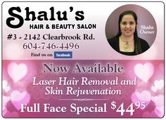 Shalu's Hair & Beauty Salon Hair And Beauty Salon, Find Us On Facebook, Laser Hair Removal, Full Face, Salons, How To Get, Ads, February, Living Rooms