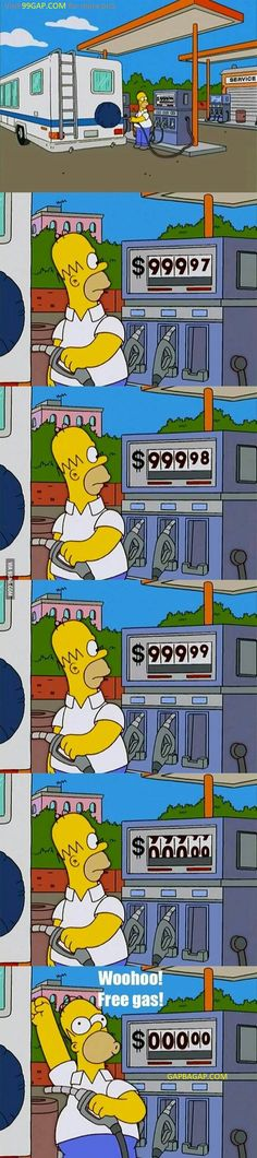 Funny Pictures Of Homer Simpson vs. Petrol Station