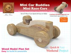 "Welcome to my shop on Etsy! Set of 5 Cars Model Specifications: Finished Model is approximately 4"" - 1-1/2 to 2"" high – 2"" wide A rough and tumble toy for kids to play. With the look of the real thing. Watch the video on YouTube: https://youtu.be/BjzryiTvqqY The Wood Toy can be"