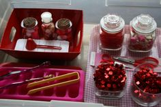 Valentines Activity BIN with sensory, and creativity activities! @Jackie Currie #valentine #sensory