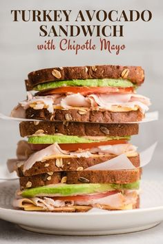 This Turkey Avocado Sandwich will spice up your lunch routine with an awesome chipotle mayo spread. This sandwich keeps well overnight, making it perfect for packed lunches! Grill Sandwich, Deli Sandwiches, Turkey Avocado Sandwich, Avocado Sandwich Recipes, Veggie Sandwich, Healthy Sandwiches, Turkey Sandwiches, Lunch Recipes, Cooking Recipes