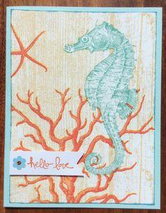 Seahorse fused napkin card