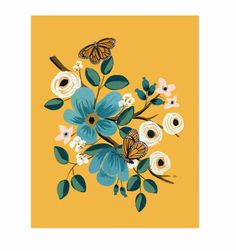 Rifle Paper Co. Monarch Art Print Beautiful and detailed art print from Rifle Paper Co. featuring two Monarch butterflies, a marigold background and turquoise flowers. Perfect for any room that needs a pop of color – or has a lot of c Art And Illustration, Floral Illustrations, Rifle Paper Company, Art Et Nature, Illustration Botanique, Guache, Floral Prints, Art Prints, Gouache Painting