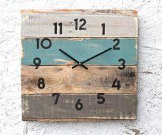 Rustic Beach House Decor. Coastal Theme Reclaimed Wood Clock. Soft Teal. Reclaimed Wood Clock. Gift idea. Modern meets Rustic.
