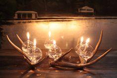 Modern Rustic Antler Oil Lamp Centerpiece Set - Trevor O'Neil Design Modern Rustic Antler Oil Lamp C Oil Lamp Centerpiece, Centrepiece Ideas, Rustic Centerpieces, Mossy Oak Wedding, Twig Chandelier, Shed Antlers, Elk Antlers, Chelsea Wedding, Antler Art