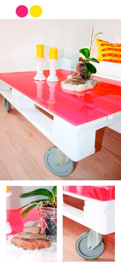 Home made table with pink plexiglass, obviously I want a different color but I like the idea