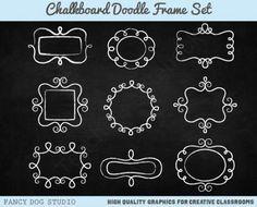 Doodled Chalk Frame Chalkboard Clip Art Set from Fancy Dog Studio on… Chalkboard Clipart, Chalkboard Doodles, Blackboard Art, Chalkboard Paper, Chalkboard Lettering, Framed Chalkboard, Chalkboard Boarders, Chalkboard Ideas, Doodle Frames