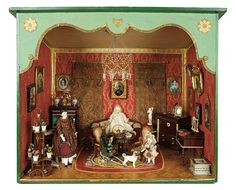 Bread and Roses - Auction - July 26, 2016: Lot #112 Early Dollhouse Salon with Rare Furnishings and Accessories