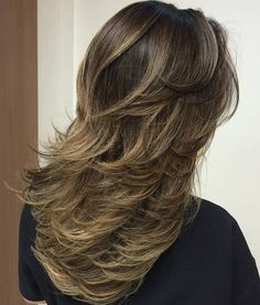 Brunette Layered Ombre Balayage Hairstyle