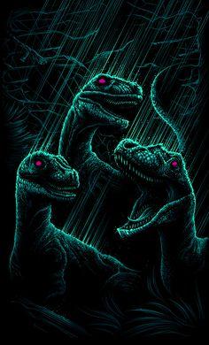 "Jurassic Park - Dan Mumford - ''Velociraptor's a Pack Hunter'' ---- Art featured in Hero Complex Gallery's ""Imagined Worlds -- tribute to Spielberg, Jackson, Nolan, Carpenter, and Cameron Jurrassic Park, Park Art, Harey Quinn, Dan Mumford, Movie Synopsis, Jurassic Park World, Falling Kingdoms, Dinosaur Art, Prehistoric Creatures"