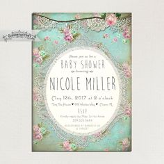 Shabby Chic Baby Shower Invitation Printed by Cloud9Factory