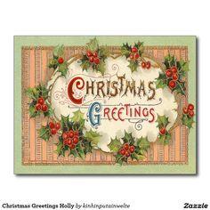 Christmas Greetings Holly Postcard