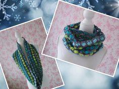 crochet: infinity scarf by Mama Netty (blue-green-grey)