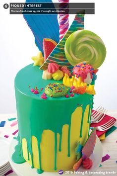 The Piqued Interest cake decorating trend mixes up bold colors in mismatched piles and mounds of ingredients creating varying elevations for a chaotic design that's a show stopper no matter what you're celebrating!