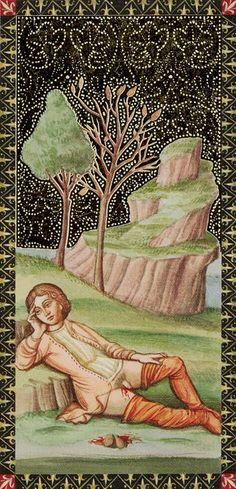 2 de bâtons - Golden Tarot of Renaissance par Giordano Berti & Jo Dworkin