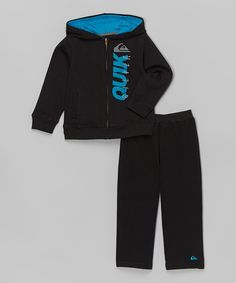 Another great find on #zulily! Black & Blue Zip-Up Hoodie & Pants - Toddler by Quiksilver #zulilyfinds