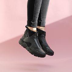 c41a679f0eed ... nike air huarache run premium mid sneakers in black ...