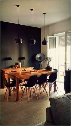 sala da pranzo, parete nero opaco, pavimento grigio #gres porcellanato ...