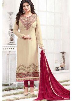 couleur beige georgette churidar costume, - 88,00 €, #TenuBollywood #Churidar #CostumePasCher #Shopkund