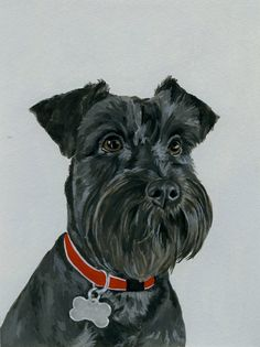 These pet portraits are adorable // custom portrait painting of your pet 8x10 by KatePugsley on Etsy