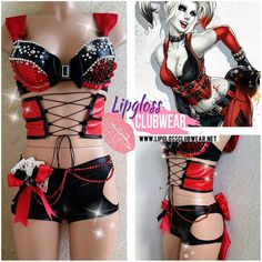 Badass Sexy Harley Quinn inspired Costume with Side Cut and Corset for... (185 AUD) ❤ liked on Polyvore featuring costumes, harley quinn, outfits, tops, sexy boyshorts, joker halloween costume, sexy joker costume, harley quinn costume and sexy halloween costumes