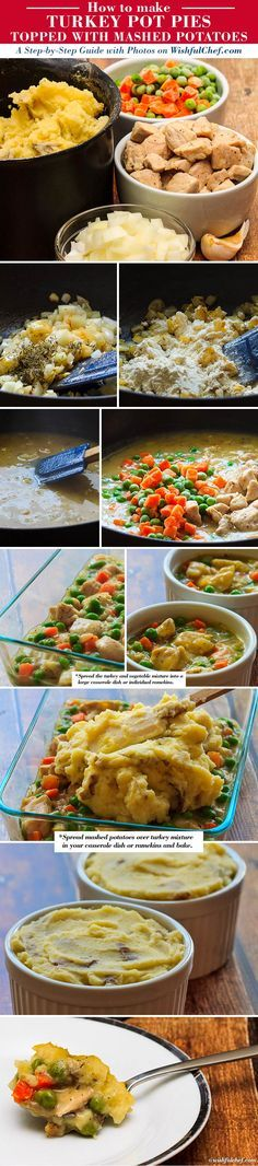 A Step-by-Step Guide: Turkey Pot Pie topped with Mashed Potatoes [made with Thanksgiving leftovers] // wishfulchef.com