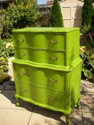 60's Highboy Dresser has a whole new personality when painted lime.