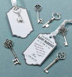 Key escort cards guestbook alternative.  Love these silver décor keys.  Available from Weddingfavours.ca 24 pack.