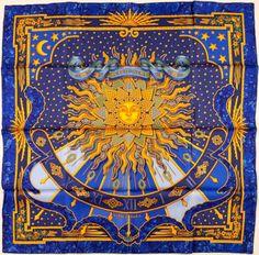 """#Hermes Blue, Black, and Gold """"Carpe Diem,"""" by Joachim Metz SilkScarf. #heritageauctions"""