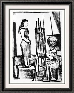 Pablo Picasso Art For Sale Clothed Model Posing c. 1954 Fine Art Print from Museum Artist
