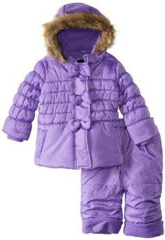 06c9a093a Rothschild Baby Girls Infant 2 Piece Peplum Bubble Snowsuit with Bow Detail  - Iris (24