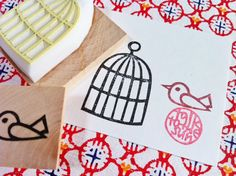 bird rubber stamp set. hand carved rubber stamp. hand carved stamp. bird stamp. birdcage stamp. set of 2. mounted.