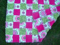 Flannel Rag Crib Quilt Pink and Green with bold by AuntBugs, $78.50
