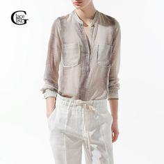 Lacegirl Women Snake Perspective Blouse 2017 New Stand Collar Serpentine Print Metal Button Shirt  Long Sleeve Loose Blouses #Affiliate