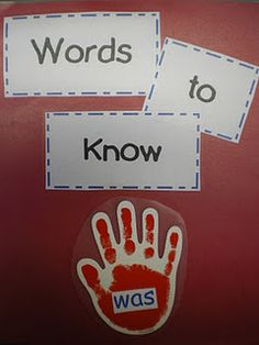 When students exit the roomduring dismissal, they read the words aloud as theyhigh-five the words on the way out.