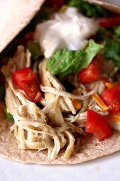 Instant Pot/Slow Cooker Lime Chicken Tacos (from frozen)--this is the easiest and tastiest shredded chicken that you can serve in tacos (or other ways). The best part is that you can use frozen chicken and it takes about 2 minutes of prep time. Cooked Chicken Recipes, Healthy Crockpot Recipes, Lunch Recipes, Cooking Recipes, Instant Pot Pressure Cooker, Pressure Cooker Recipes, Pressure Cooking, Slow Cooking, Lime Chicken Tacos