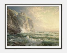 Rocky Cliff with Stormy Sea (Cornwall) by William Trost Richards - Fine Art Reproduction - Giclee Print