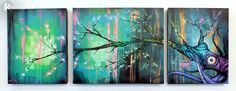TREE outsider fine art ORIGINAL canvas painting graffiti blossom street triptych. $999.99, via Etsy.