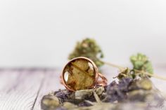 Olive copper ring with real dried  leaf. Free от FriendMeBijou
